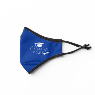 Royal Blue and White Graduation Class of 2021 Premium Face Mask