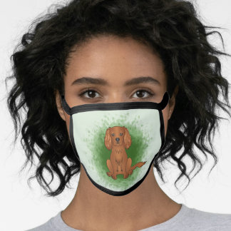 Ruby Cavalier King Charles Spaniel Dog On Green Face Mask
