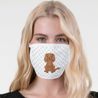 Ruby Cavalier King Charles Spaniel Dog & Paws Face Mask