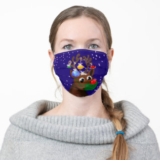 Rudolph in face mask twinkling night sky