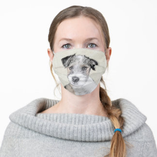 Russell Terrier Rough Painting - Original Dog Art Adult Cloth Face Mask