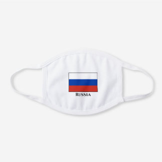 Russia (Russian) Flag White Cotton Face Mask