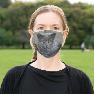 Russian Blue Cat Face Photo Face Mask
