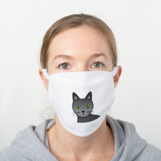 Russian Blue Cute Cartoon Cat Head Illustration White Cotton Face Mask
