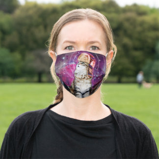 russian cat in space adult cloth face mask
