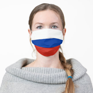 Russian Flag Colors White Blue Red Stripes Cloth Face Mask