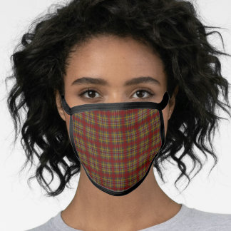Rust Red, Gold and Gray Plaid Pattern Face Mask