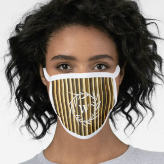 Rustic Bamboo Monogram Vertical Lines Pattern Face Mask