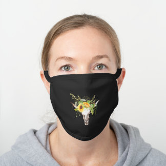 Rustic Boho Yellow Sunflowers, Greenery, Cow Skull Black Cotton Face Mask