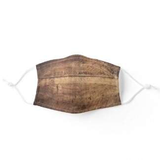 Rustic Brown Country Wood Planks Texture Print Adult Cloth Face Mask