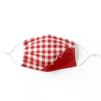 Rustic Buffalo Plaid Gingham Red White Check Name Adult Cloth Face Mask