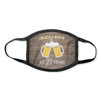 Rustic Cheers and Beers to 21 Years Beer Mugs Face Mask