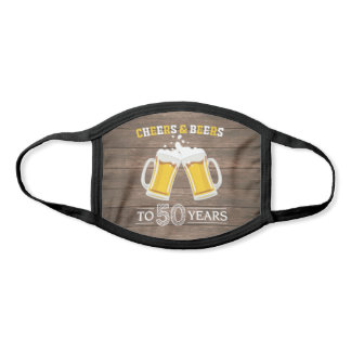 Rustic Cheers and Beers to 50 Years Beer Mugs Face Mask