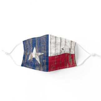 rustic Country Barn Wood Lone Star Texas Flag Adult Cloth Face Mask