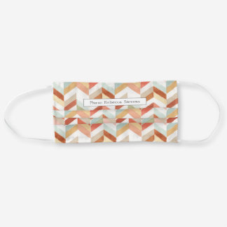 Rustic Fall Chevron Watercolor Personalized Adult Cloth Face Mask