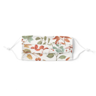 Rustic Fall Foliage Watercolor Pattern Adult Cloth Face Mask
