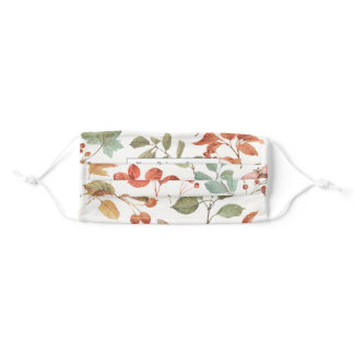 Rustic Fall Foliage Watercolor Personalized Adult Cloth Face Mask
