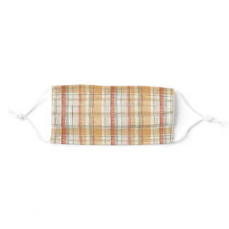 Rustic Fall Plaid Watercolor Pattern Adult Cloth Face Mask