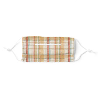 Rustic Fall Plaid Watercolor Pattern Personalized Adult Cloth Face Mask