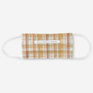 Rustic Fall Plaid Watercolor Pattern Personalized Cloth Face Mask
