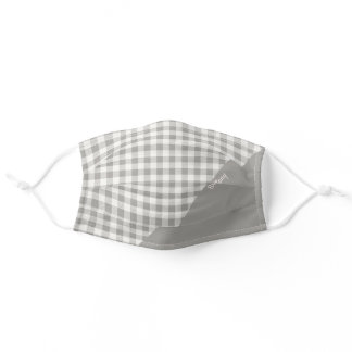 Rustic Farmhouse Gray White Gingham Name Adult Cloth Face Mask