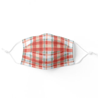 Rustic Festive Christmas Plaid Watercolor Pattern Adult Cloth Face Mask