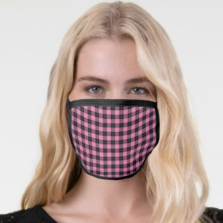 Rustic Pink Black Plaid Pattern Face Mask