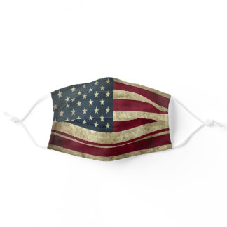 Rustic Print Distressed American Flag Adult Cloth Face Mask