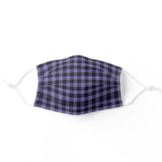 Rustic Purple and Black Plaid Pattern Adult Cloth Face Mask