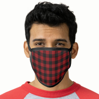 Rustic Red and Black Buffalo Plaid Face Mask