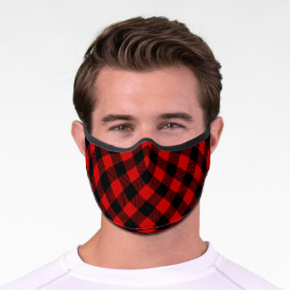 Rustic Red and Black Lumberjack Plaid Pattern Premium Face Mask