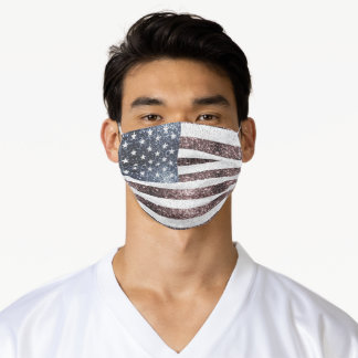 Rustic Red White Blue Sparkles USA flag  Adult Cloth Face Mask