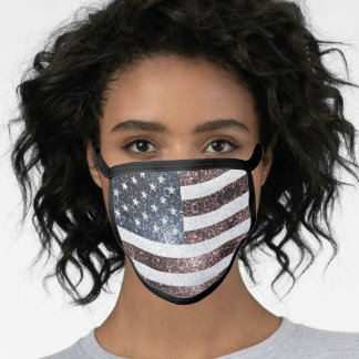 Rustic Red White Blue Sparkles USA flag  Face Mask