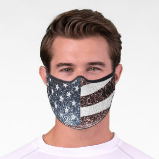 Rustic Red White Blue Sparkles USA flag  Premium Face Mask