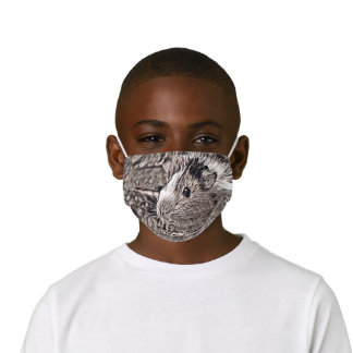 Rustic style animal- guinea pig kids' cloth face mask