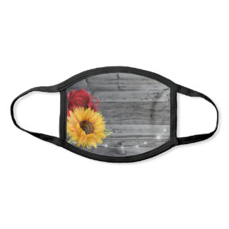Rustic Sunflower Red Rose Wood Floral Wedding Face Mask