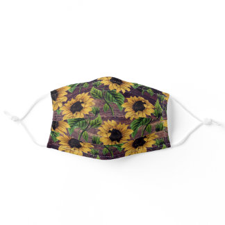 Rustic Wood Vintage Yellow Sunflowers Adult Cloth Face Mask