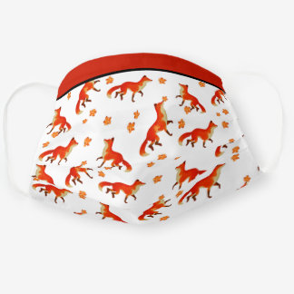Rusty  Red Fox and Orange Fall leaves Adult Cloth Face Mask
