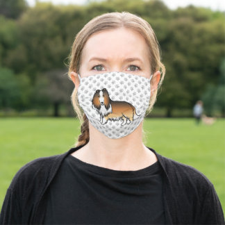 Sable Rough Collie Cute Cartoon Dog With Dog Paws Adult Cloth Face Mask
