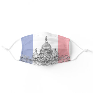 Sacre Coeur Basilica on Montmartre hill, Paris Adult Cloth Face Mask