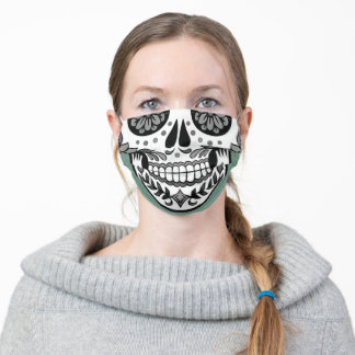 Sage Green Grey Boho chic Sugar Skull Adult Cloth Face Mask