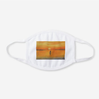 Sailboat in LBI Sunset White Cotton Face Mask