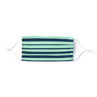 Sailor Blue and Mint Horizontal Stripes Adult Cloth Face Mask