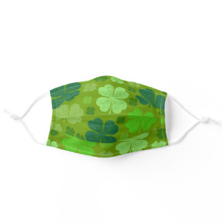 Saint Patrick's Day, Four Leaf Clovers - Green Adult Cloth Face Mask