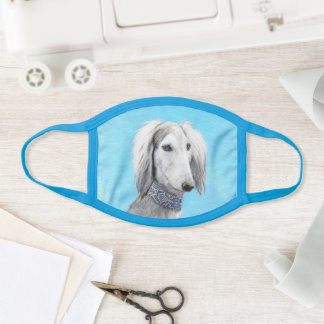 Saluki (Silver) Painting - Cute Original Dog Art Face Mask