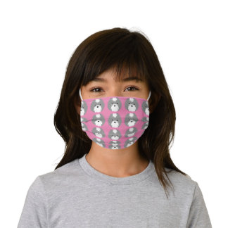 Sammy Dog Cute Kids Face Mask in Grey and Pink