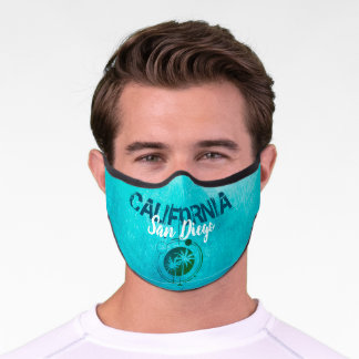 San Diego California Geometric Palms Premium Face Mask