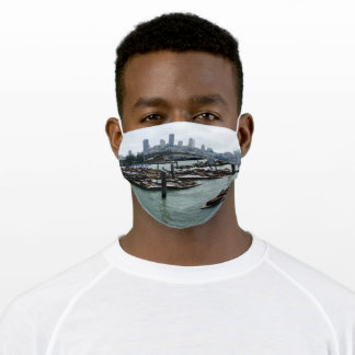 San Francisco and Pier 39 Sea Lions City Skyline Adult Cloth Face Mask