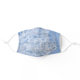 San Francisco, USA Blue Street Map Adult Cloth Face Mask