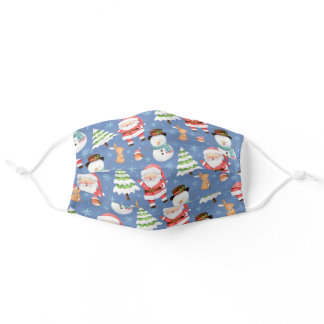 Santa and Cute Winter Friends Adult Cloth Face Mask